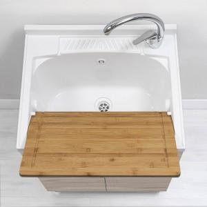 mobile lavapanni da interno larice con asse e vasca
