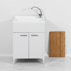 Mobile Lavatoio 2 Ante bianco lucido moderno con asse e vasca