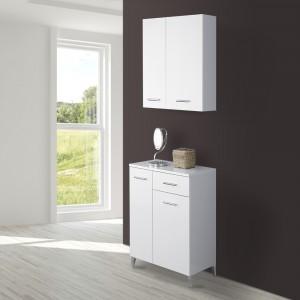Base lavanderia 2 ante e cassetto bianco lucido moderno