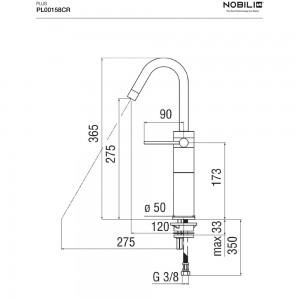scheda tecnica Rubinetto Lavabo NOBILI serie PLUS Alto Cromo con bocca girevole - ART. PL00158CR