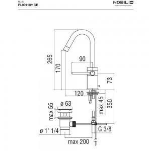 Scheda tecnica Rubinetto Lavabo Nobili serie PLUS Monoforo- art. PL00118/1CR  Cromo