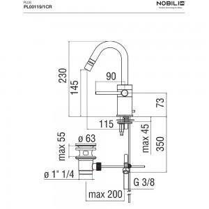 Scheda tecnica Rubinetto bidet NOBILI serie PLUS Cromo con bocca girevole - ART. PL00119/1CR