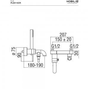Rubinetto vasca Nobili serie Plus Monocomando con set doccia art. PL00110CR - Cromo