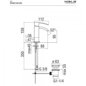 Inbagno scheda tecnica  Rubinetto bidet monocomando NOBILI serie RAY  - ART. RY00119/1CR cromo