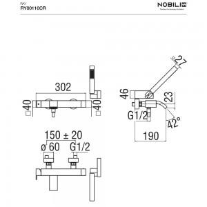 Inbagno Scheda tecnica Rubinetto Vasca Nobili serie Ray monocomando con set doccia art.  RY00110CR - cromo