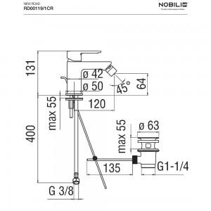 Inbagno scheda tecnica Rubinetto bidet monocomando Nobili serie New Road finitura cromo art. RD00119/1CR