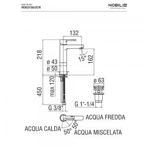 Inbagno scheda tecnica Rubinetto Lavabo alto Nobili serie New Road a risparmio energetico RDE0158/2CR