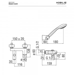 Inbagno scheda tecnica  Rubinetto vasca monocomando con set doccia Nobili serie New art. RD00110CR