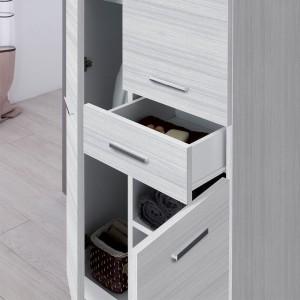 colonna lavanderia con ante e cassetti grigio moderno