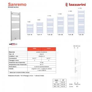 Scheda tecnica Lazzarini Termoarredo Cromato serie Sanremo 170x50 cm int. 45 cm