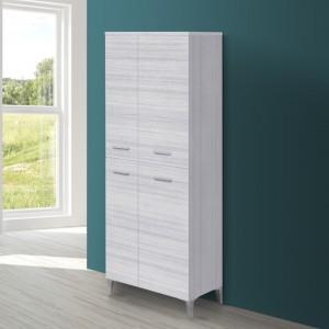 Colonna bagno 148x60 cm in legno grigio venato doppio con 4 ante