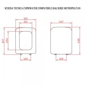 Scheda tecnica Copriwater Ceramica Rak Serie Metropolitan