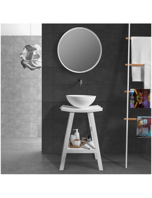 Cipì mobile bagno ZEN white 60 cm con ciotola e specchio tondo