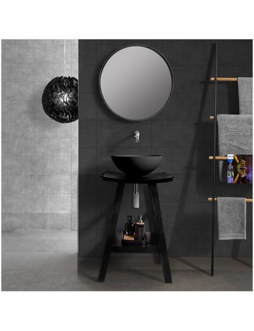 Cipì mobile bagno zen black 60 cm con di ciotola e specchio tondo