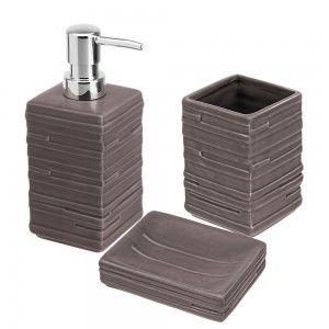 set completo accessori d'appoggio bagno tortora