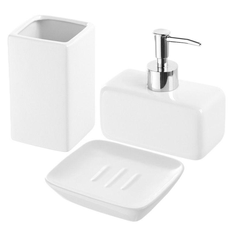 Set accessori d'appoggio in ceramica lucida bianco Feridras - 1