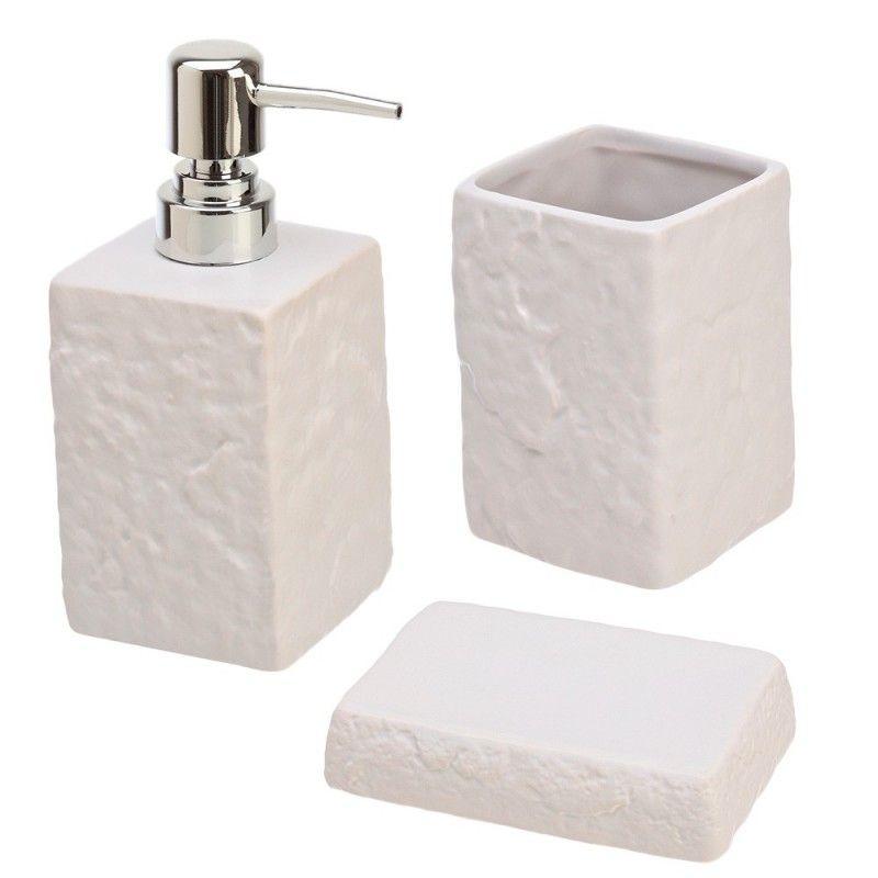 Set accessori d'appoggio effetto pietra bianco Feridras - 1