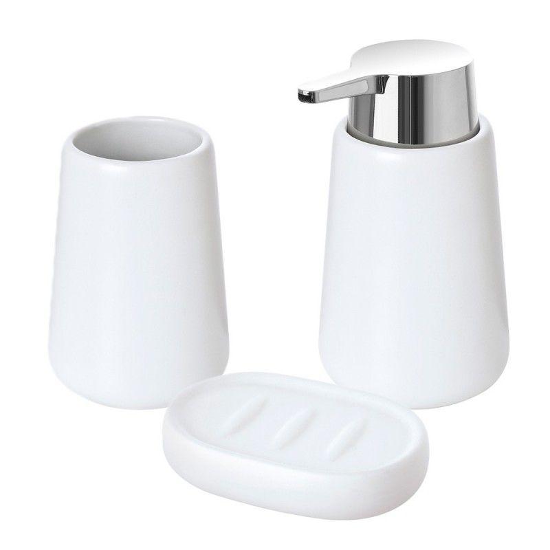 Accessori Bagno In Ceramica Bianca.Set Accessori Bagno D Appoggio Bianco In Ceramica Con Finitura Matta