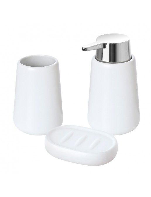Set accessori bagno d'appoggio bianco in ceramica con finitura matta