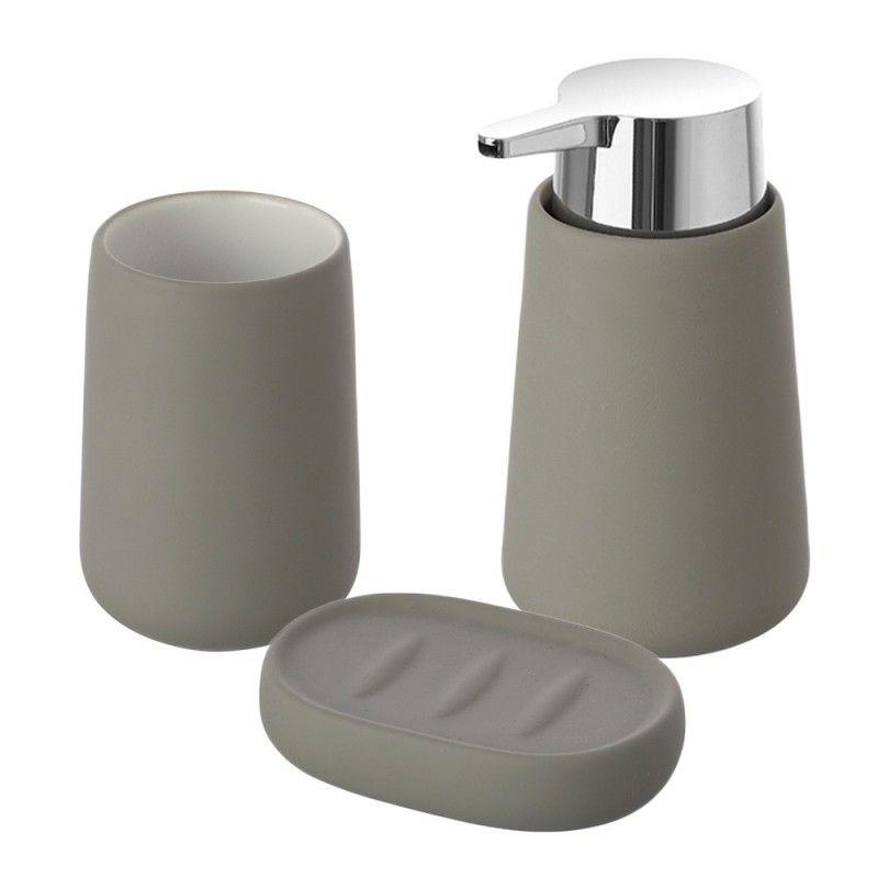 set accessori bagno d'appoggio grigio ceramica feridras