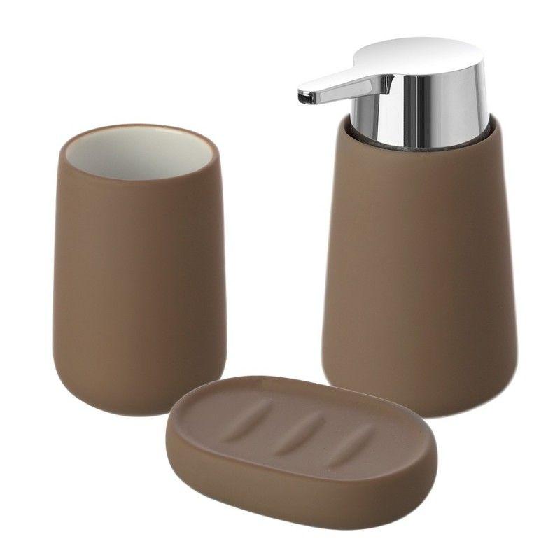 set accessori bagno d'appoggio tortora feridras sidney