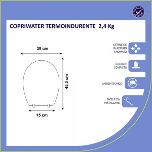 Copriwater Compatibile per WC SERIE CLIZIA in termoindurente Bianco.
