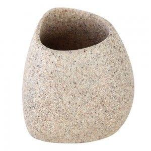 Portaspazzolino in Poliresina Effetto Pietra Sabbia Linea Stone