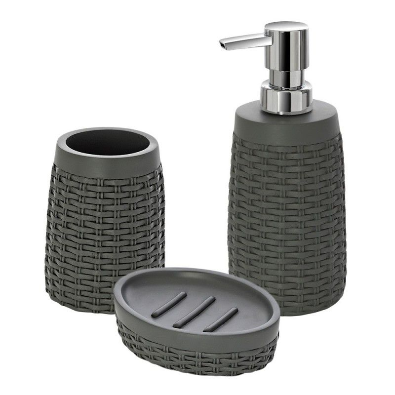 set accessori bagno d'appoggio effetto rattan grigio feridras