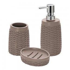 set accessori bagno d'appoggio effetto rattan feridras tortora