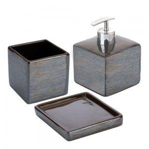 Set accessori bagno d'appoggio ceramica grigio feridras