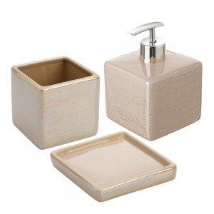 set accessori d'appoggio beige feridras ceramica