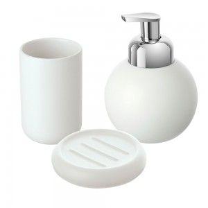 Set accessori bagno d'appoggio ceramica bianca feridras oslo