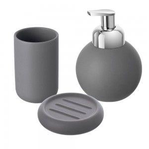 set accessori bagno d'appoggio grigio feridras oslo
