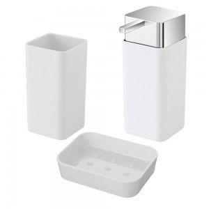 set accessori bagno d'appoggio in plastica bianca feridras star