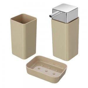 Set Accessori Bagno D'appoggio Basic Tortora in plastica feridras