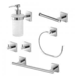 Set accessori bagno a muro linee essenziali feridras easy