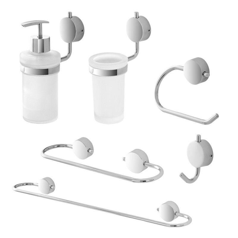 Set accessori bagno a muro doppia modalità di fissaggio feridras