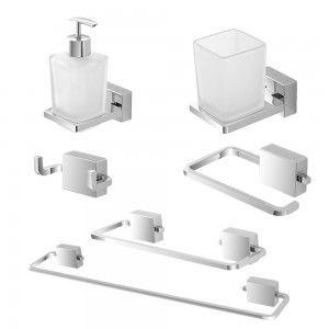 set accessori bagno a muro cromati doppia modalità di fissaggio feridras