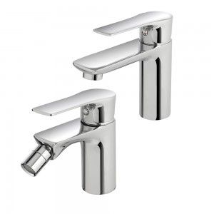 set rubinetti lavabo e bidet feridras flat ottone