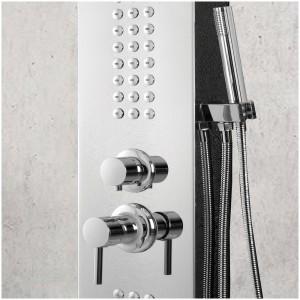 Colonna doccia acciaio inox cromo con doccetta 4 funzioni