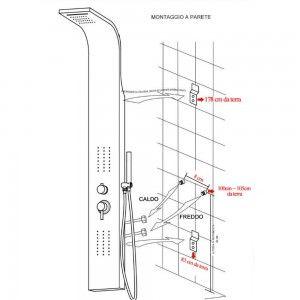 Colonna doccia acciaio inox cromata scheda tecnica Inbagno
