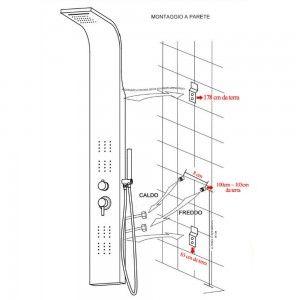 Colonna doccia acciaio inox satinata scheda tecnica Inbagno