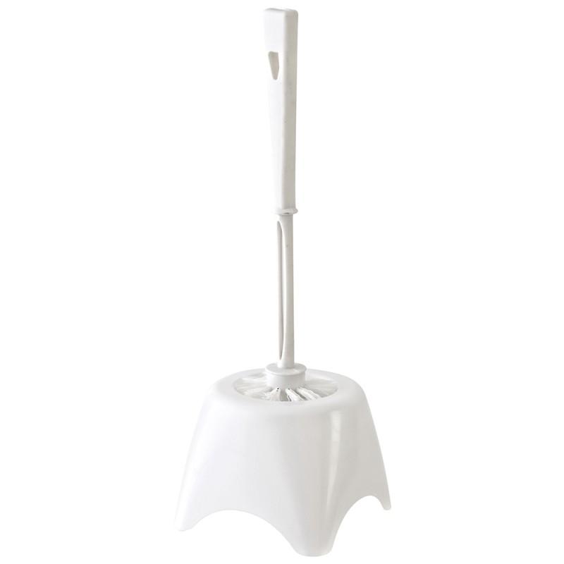 Portascopino in Plastica Bianco d'Appoggio con Ciuffo in Setole