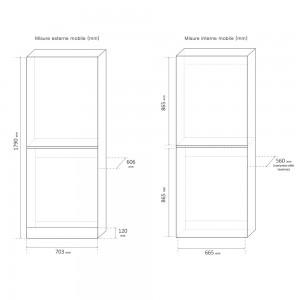 Mobile coprilavatrice e asciugatrice a colonna Bianco da interno misure