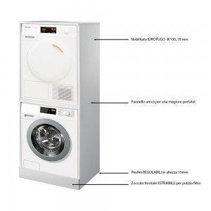 Mobile coprilavatrice e asciugatrice a colonna Bianco da interno