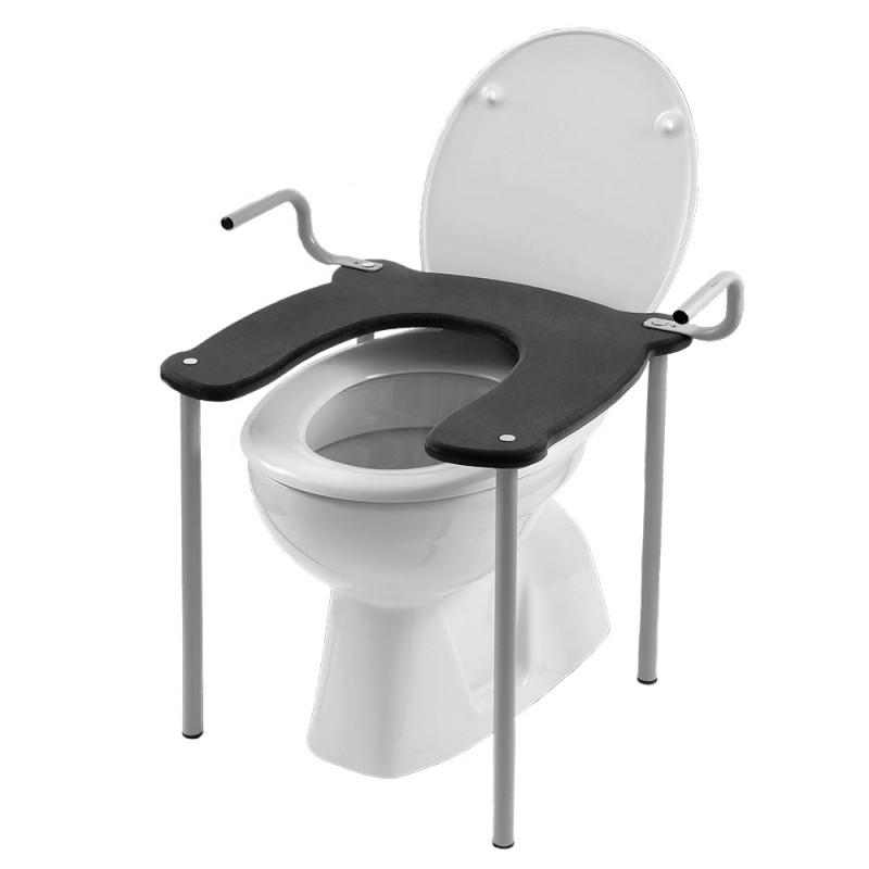 Rialzo per seduta wc e bidet in acciaio con maniglie Antracite