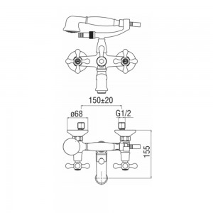Inbagno Rubinetto vasca cromo Nobili serie Grazia con set doccia art. GRC5001CR scheda tecnica