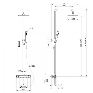 Colonna doccia termostatica cromo Huber Prime Q online