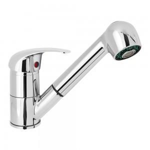 Miscelatore monocomando con doccia estraibile cromato