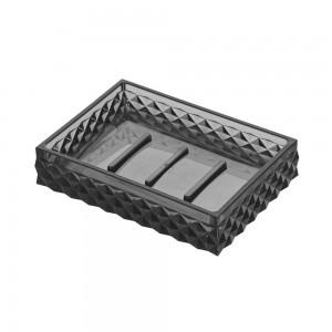 Porta sapone nero trasparente in plastica